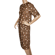 Vintage 50s Polka Dot Brown Silk Dress Size M 25 Inch Waist