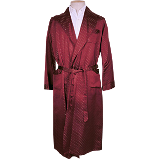 Vintage 50s Mens Dressing Gown Maroon Satin w Woven Green Dots Lounging Robe Size M
