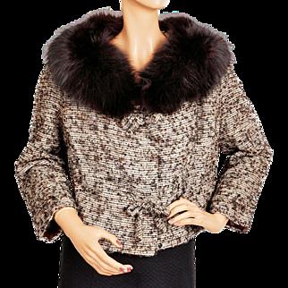 Vintage 1960s Linton Tweed Jacket w Fox Fur Collar Ladies Size M