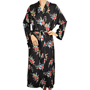 Vintage 1940s Ladies Dressing Gown Floral Chintz Rayon Faille Lounging Robe Size L
