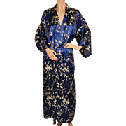 Vintage Ladies Kimono Style Dressing Gown Gold Bamboo Pattern Blue Satin Lounging Robe