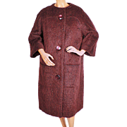 Vintage 1960s Mohair Wool Coat Rust Red Colour Ladies Size L