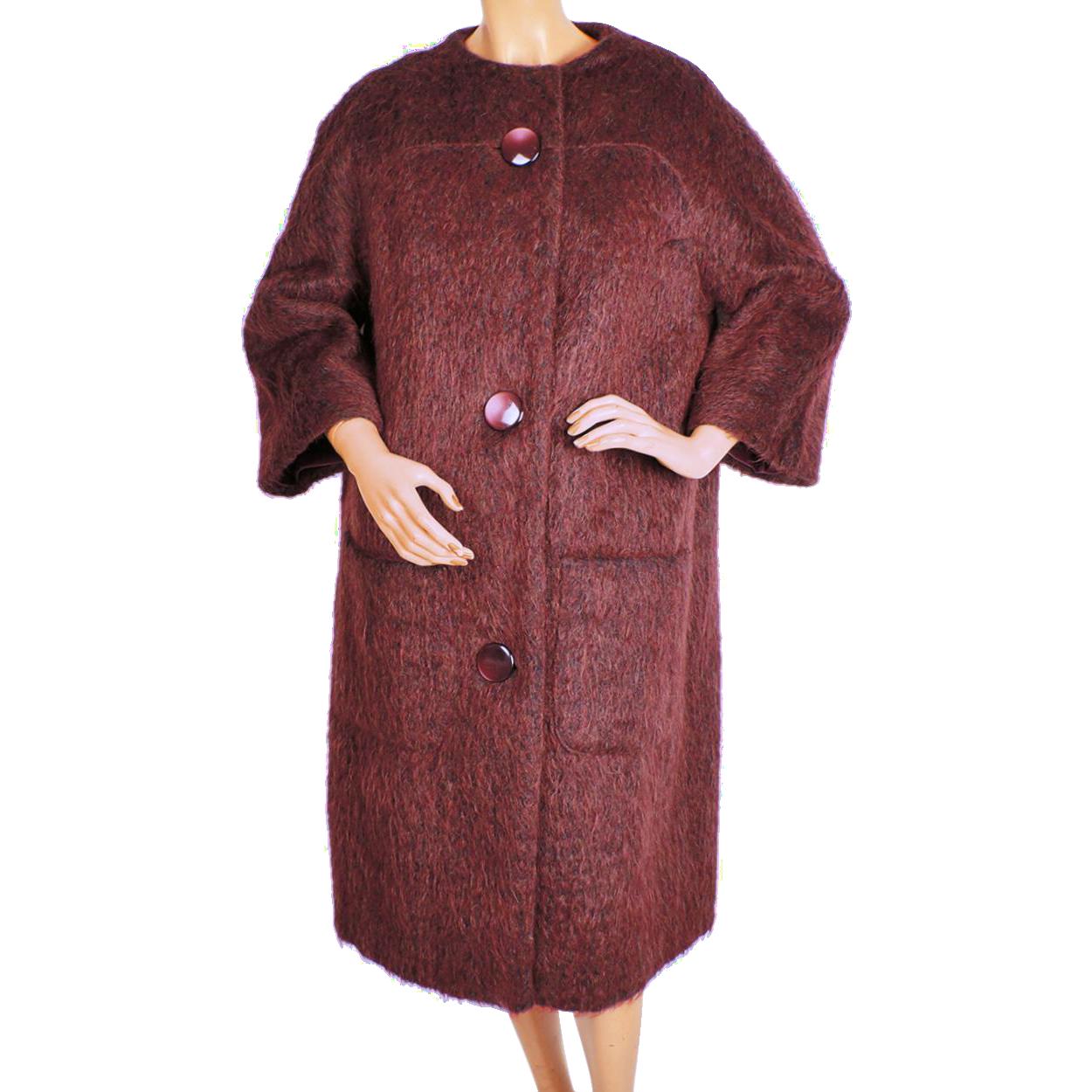 Vintage 1960s Mohair Wool Coat Rust Red Colour Ladies Size L