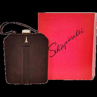Vintage Schiaparelli Paris Purse 1950s Brown Suede Handbag with Box