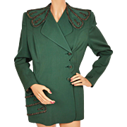 Vintage 1940s Ladies Suit Jacket Green Gabardine w Beading Russeks 5th Ave Linada Originals