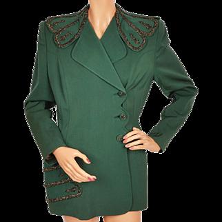 Vintage 1940s Ladies Suit Jacket Green Gabardine w Beading Russeks 5th Ave Linada Originals