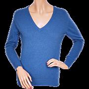 Vintage 1970s Blue V-Neck Pullover Sweater - John Laing - Scotland - Ladies 36 in or 91 cm