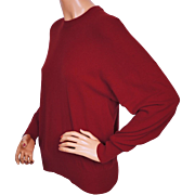 Vintage 1970s Ballantyne Cashmere Sweater Red Pullover Style Made in Scotland Ladies Size M L