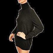 Vintage Pringle Scottish Cashmere Turtleneck Sweater Black Pullover Style Ladies Size L