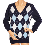 Vintage 1970s Scottish Cashmere Sweater Blue Argyle Pattern Made in Scotland Ladies Size L