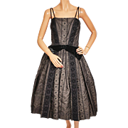 Vintage 50s Black Party Dress Eyelet Silk Organza w Spaghetti Straps Size M