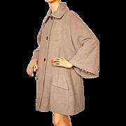 Vintage 50s Swing Coat Beige Wool Ladies Size L