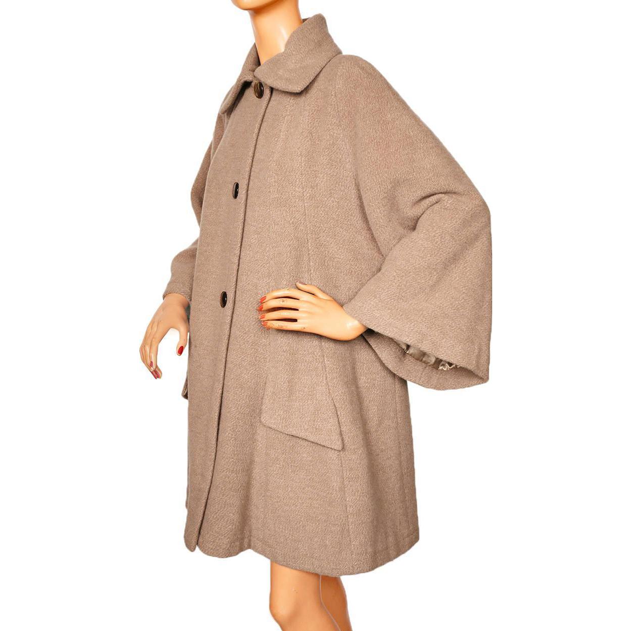 Vintage 1950s Swing Coat Beige Wool Ladies Size L From