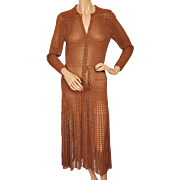 Vintage 1930s Crochet Knit Dress Brown Rayon Shirt Bodice Size M