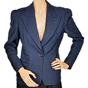 Vintage 1940s Ladies Suit Jacket Tailored Blue Pinstripe Size M