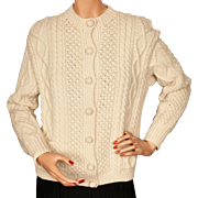Vintage Irish Aran Sweater Hand Knit Cardigan Clan Ward Ladies Size M