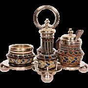 Antique Doulton Lambeth Condiment Set 1878 Annie Gentle w Silver Plated Tray JA Rhodes