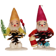 Vintage CHRISTMAS GNOME Decoration - Elves - Pixie - Pine Cone Ornaments
