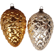 Vintage CHRISTMAS Tree Mercury Glass Ornament Figural PINE CONES Pair - Silver & Gold