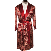 Vintage 1940s Mens Dressing Gown Smoking Lounging Robe by Tulipe Deco Pattern Size M