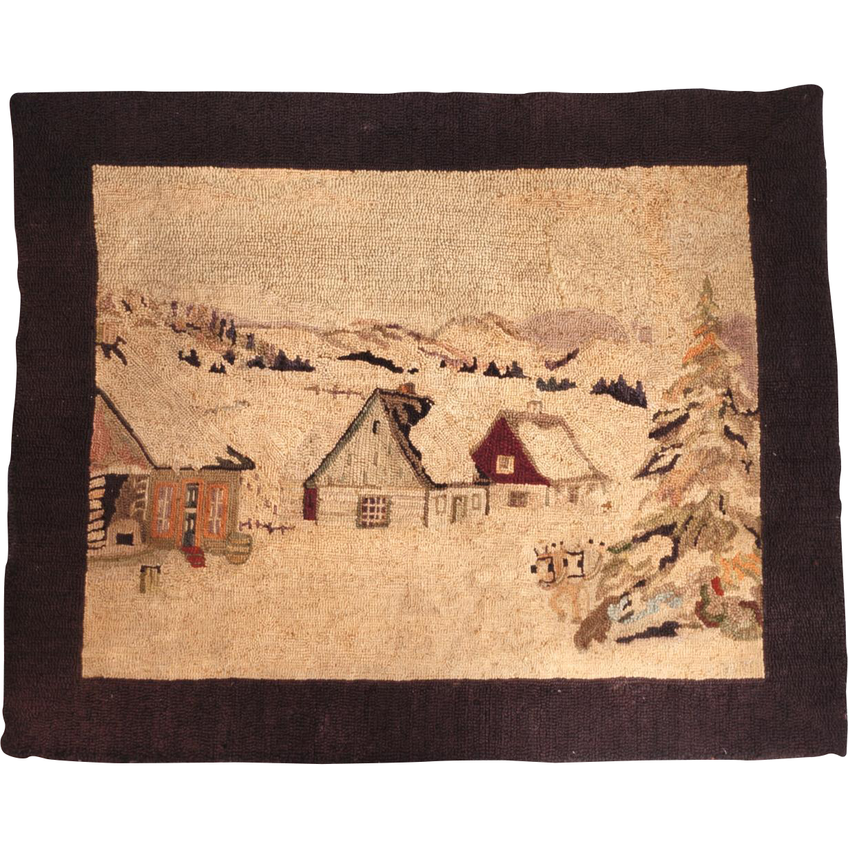 Vintage 1930s Hooked Rug by Georges Edouard Tremblay Quebec Folk Art Tapestry