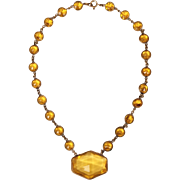 Art Deco 1930s Czech Topaz Glass Necklace Made in Czechoslovakia