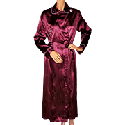 Vintage 1940s Satin Dressing Gown 40s Burgundy Lounging Robe Ladies Size M L