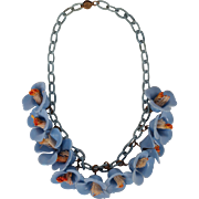 Vintage 1930s Bluebells Celluloid Flower Necklace