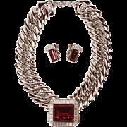 Vintage YSL Demi-Parure Choker Necklace and Earrings Yves Saint Laurent