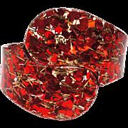 Vintage Lucite Clamper Cuff Bangle 1950s Bracelet Encased Red Confetti