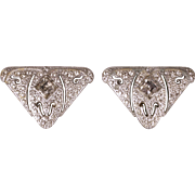 Art Deco Rhinestone Dress Clips Pair