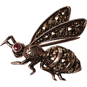 Vintage Bee Pin Sterling Silver Marcasite Insect Brooch w Magenta Rhinestone