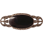 Art Deco Sterling Silver Marcasite Onyx Pin Brooch