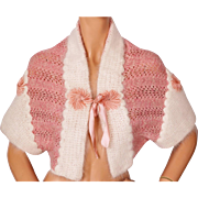 Vintage 1930s Bed Jacket Hand Knit Pink Wool White Mohair w Pink Satin Trim