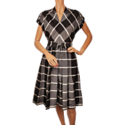 Vintage 1950s Dress Cotton Silk Organdy Black Grey Check Size M