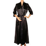 Vintage 1940s Black Satin Dressing Gown 40s Lounging Robe Ladies Size M