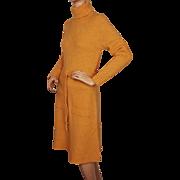 Vintage 1970s Orange Wool Knit Dress St Michael Made in Britain Size M