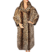 Vintage Leopard Print Stencilled Mouton Fur Coat Sheared Lamb Ladies Size L
