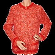 Vintage 60s Italian Hand Knit Mohair Wool Cardigan Sweater Joyce Sportswear Ladies Size M
