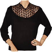 Vintage 1950s Black Lace and Cashmere Sweater Pullover Style Ladies Size M L