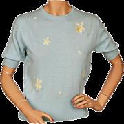 Vintage Scottish Cashmere Sweater N Peal Ballantyne Floral Intarsia Ladies Size M