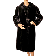 Vintage 1930s Black Plush Velvet Ladies Coat - S / M