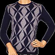 Vintage 1970s Scottish Cashmere Sweater by Ballantyne Blue Grey Pattern Ladies Size S M