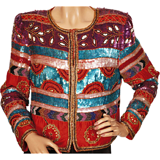 Vintage 1980s Beaded and Sequin Crop Jacket - M - L