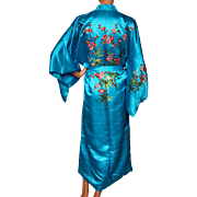 Vintage 1960s Blue Chinese Silk Dressing Gown Robe - Cherry Blossom Embroidery - S