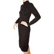 Vintage Italian Black Cashmere Sweater Dress Lily Simon Montreal Ladies Size Small