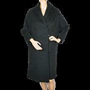 Vintage 1950s Einiger 24K Pure Cashmere Black Coat - Cherry and Webb - Ladies - M