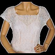 Vintage White Cotton Lace Top 1940s 50s Size M
