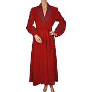 RESERVED Vintage 1940s Red Wool Dressing Gown Lounging Robe Ladies Size Medium