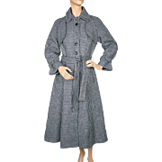 Vintage 1970s Tweed Wool Houndstooth Coat Princess Style Trench Sz S M Blue Black